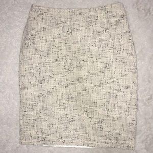 Grey Black White Knit Career Pencil Skirt w Slits